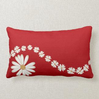White Daisies on Red Lumbar Throw PIllow