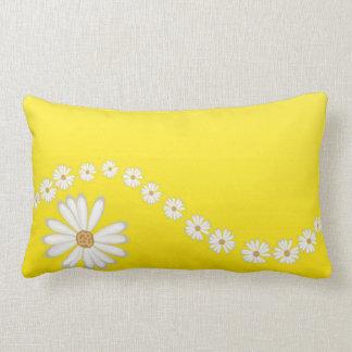 White Daisies on Yellow Lumbar Throw PIllow