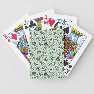 white daisies pattern bicycle playing cards