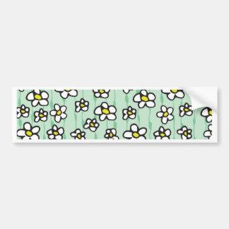 white daisies pattern bumper sticker