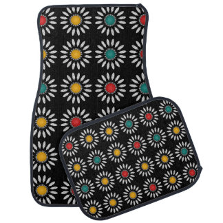 White daisies pattern car floor mat