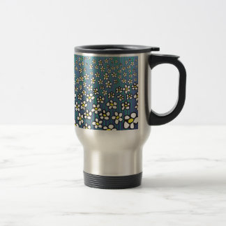 white daisies pattern travel mug