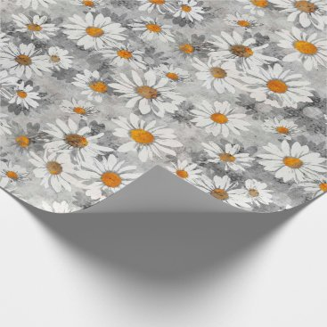 Wedding Themed White Daisies Pattern Wrapping Paper