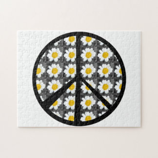 White Daisies Peace Sign Jigsaw Puzzle