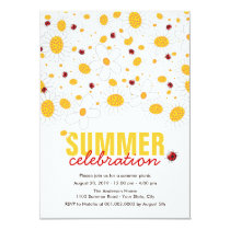 White Daisies Red Ladybugs Summer Party Invite