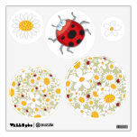 White Daisies Spring Flowers Cute Red Ladybugs Wall Skins