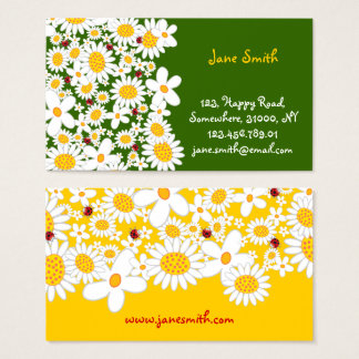 White Daisies Spring Flowers Ladybugs Profile Card