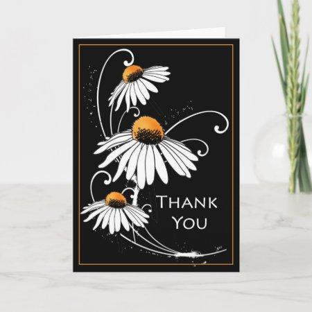 White Daisies Thank You Card card