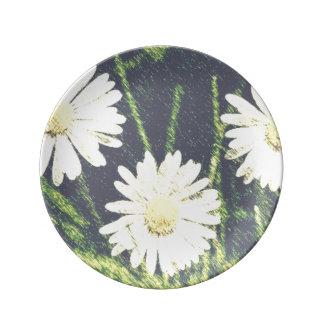 White Daisies Three Green Yellow Bloom Pastel Porcelain Plates