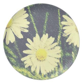 White Daisies Three Green Yellow Bloom Pastel Plates