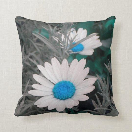 White Daisies (w/Blue) Throw Pillow *reversible*