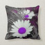White Daisies (w/Purple) Throw Pillow 2 sided