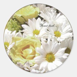 White Daisies Yel Rose Custom Envelope Seals Classic Round Sticker