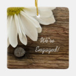 White Daisy and Barn Wood Country Engagement Ceramic Ornament