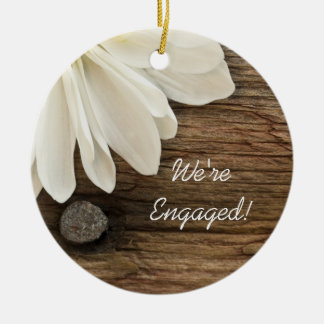 White Daisy and Barn Wood Country Engagement Double-Sided Ceramic Round Christmas Ornament