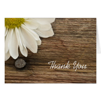 White Daisy and Barn Wood Country Thank You Card