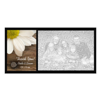 White Daisy and Barn Wood Country Thank You Photo Card