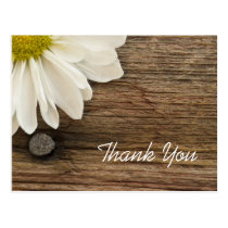 White Daisy and Barn Wood Country Thank You Postcard