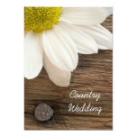 White Daisy and Barn Wood Country Wedding 5x7 Paper Invitation Card