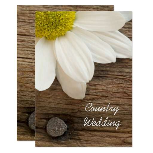 White Daisy and Barn Wood Country Wedding Invite