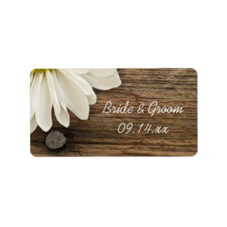 White Daisy and Barn Wood Country Wedding Address Label