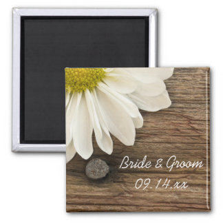 White Daisy and Barn Wood Country Wedding Magnet