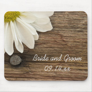 White Daisy and Barn Wood Country Wedding Mouse Pad