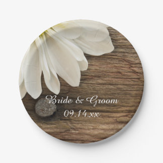 White Daisy and Barn Wood Country Wedding Paper Plate
