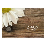 White Daisy and Barn Wood Country Wedding Response 3.5x5 Paper Invitation Card