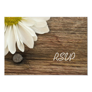 White Daisy and Barn Wood Country Wedding RSVP 3.5x5 Paper Invitation Card