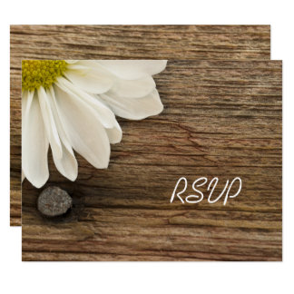 White Daisy and Barn Wood Country Wedding RSVP Card