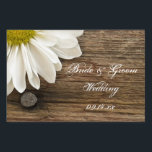 "White Daisy and Barn Wood Country Wedding Sign<br><div class=""desc"">Direct guests to your casual yet classy marriage ceremony and reception with the rustic chic White Daisy and Barn Wood Country Wedding Yard Sign. This informal and elegant custom ranch style nuptial sign features a quaint floral photograph of a white daisy flower blossom with a weathered brown barnwood background.</div>"