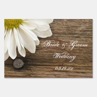 White Daisy and Barn Wood Country Wedding Sign