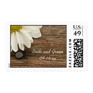 White Daisy and Barn Wood Country Wedding Stamp