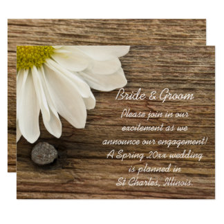 White Daisy and Barn Wood Engagement Announcement