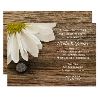 White Daisy and Barn Wood Post Wedding Brunch Card