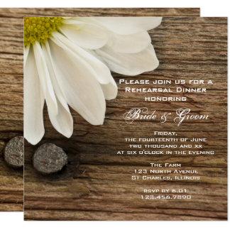 White Daisy and Barn Wood Wedding Rehearsal Dinner Card