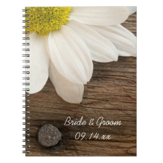 White Daisy and Barn Wood Wedding Spiral Notebook