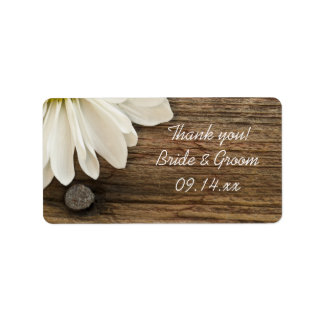 White Daisy and Barn Wood Wedding Thank You Address Label