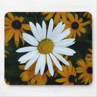 White Daisy and Blackeyed Susans Mouse Pad