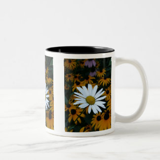 White Daisy and Blackeyed Susans Two-Tone Coffee Mug