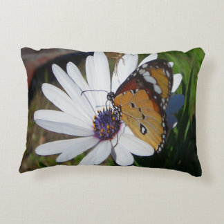 White Daisy and Butterfly Accent Pillow