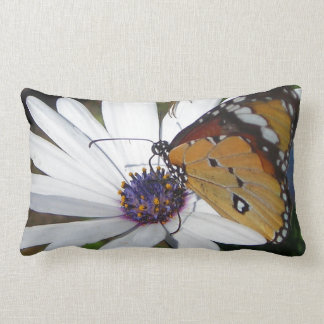 White Daisy and Butterfly Lumbar Pillow