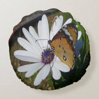 White Daisy and Butterfly Round Pillow