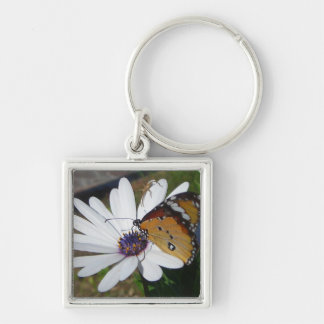 White Daisy and Butterfly Silver-Colored Square Keychain