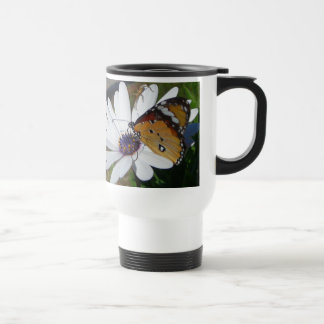 White Daisy and Butterfly Travel Mug
