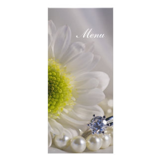 White Daisy and Diamond Ring Wedding Menu