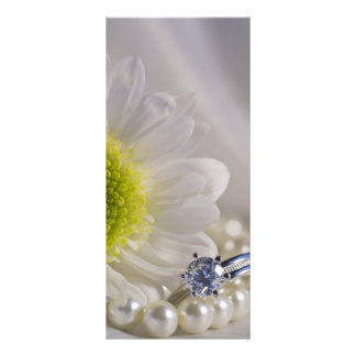 White Daisy and Diamond Ring Wedding Program