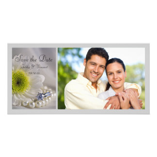White Daisy and Diamond Ring Wedding Save the Date Card