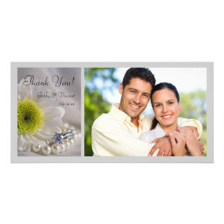 White Daisy and Diamond Ring Wedding Thank You Card